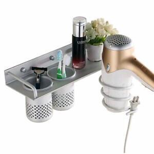 Wall Mount Hair Dryer Holder Storage Toothpaste Toothbrush