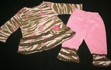 Cachcach Boutique Cach Cach Adorable Pink Brown Butterfly Set Baby Girl Sz 12 M