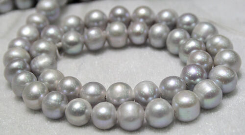 "9-10mm Silver Grey Akoya Freshwater Pearl Loose Beads AAA 15/"""