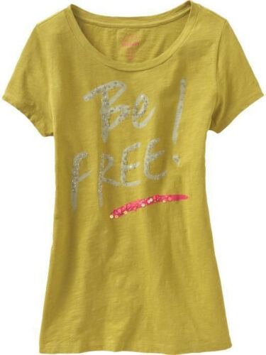 NWT OLD NAVY EMBELLISHED BE FREE GRAPHIC TEE W// BLING GREEN