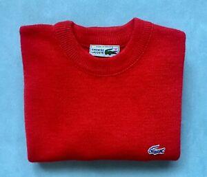 LACOSTE-VTG-Mens-Red-Wool-Blend-Crewneck-Pullover-Sz-2-S-EUC