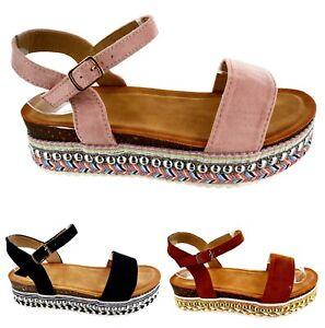 Detalles De Verano Forma Sandalias Zapatos Mujer Vacaciones Fiesta Con Tachuelas Plana Playa TFc1KJl