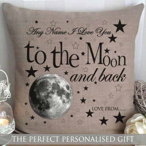 Personnalisé I Love You to the Moon Et Arrière Coussin Noël Valentine Cadeau Toile