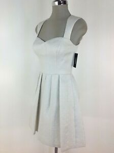 Guess-NWT-Sexy-Dress-WHITE-Metallic-Fancy-Neck-Flare-Skirt-size-0-2-4-6-8-10-12