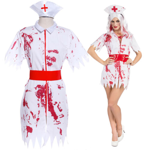 Zombie Nurse Horror Bloody Fancy Dress Ladies Halloween Costume Dress Up Hat