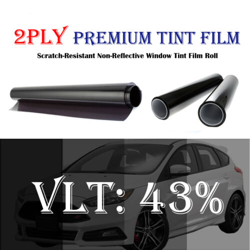 2PLY Premium 43/% VLT 30 In x 10 Ft Feet Uncut Roll Window Tint Film Car 1.5 mil
