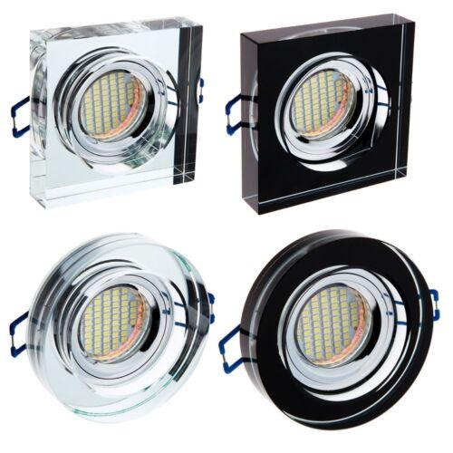 LED Einbaustrahler Glas Deko Rund Eckig  Spot GU10 Einbau-Leuchte BERTA