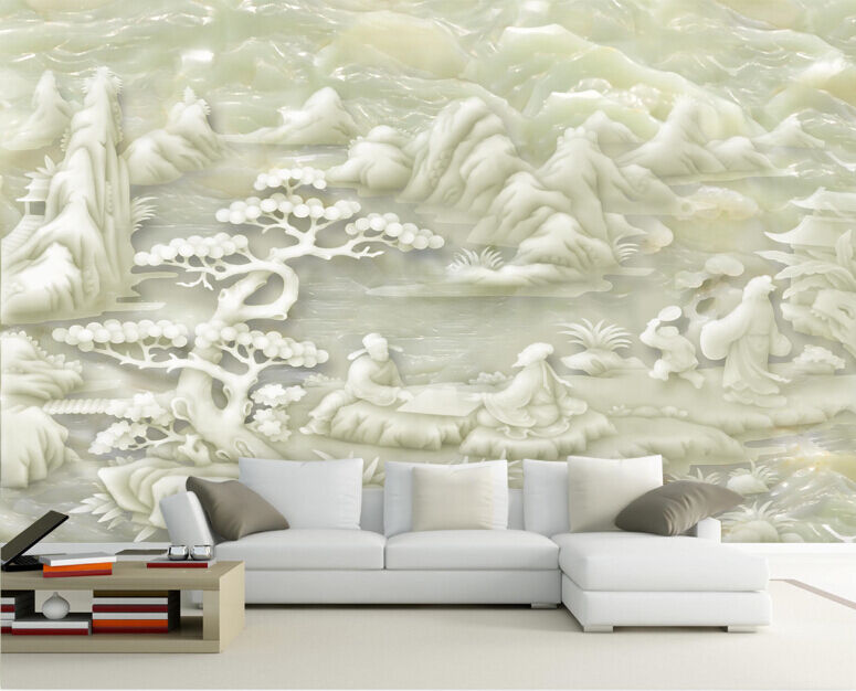 3D Jade Carving Forest 6 Paper Wall Print Decal Wall Wall Murals AJ WALLPAPER GB