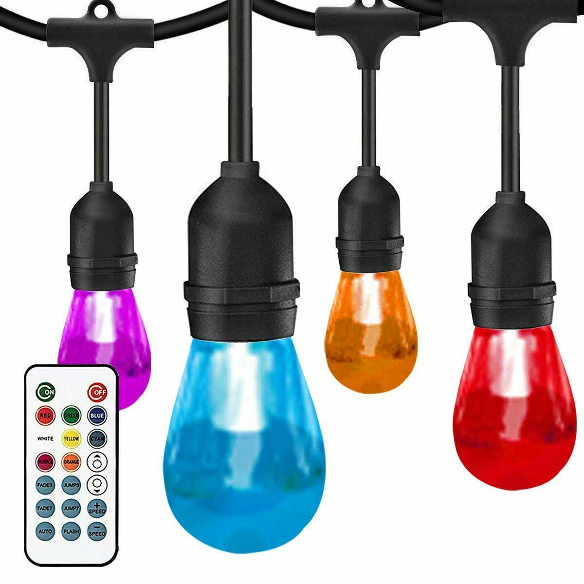 Cadena De Luces al aire libre sunthin cambio de Color, luces de patio de 42ft, 15 Sockets
