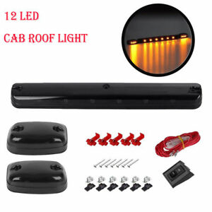 3x-Smoke-Cab-Roof-Running-Amber-LED-Light-For-Chevy-Silverado-GMC-Sierra-2007-14
