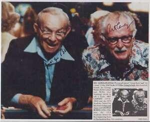B2063: George Burns, Art Carney Signed Color Photo