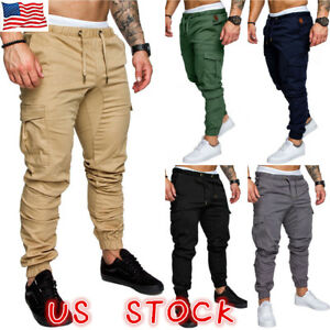 US-Men-039-s-Slim-Fit-Urban-Straight-Leg-Trousers-Casual-Pencil-Jogger-Cargo-Pants