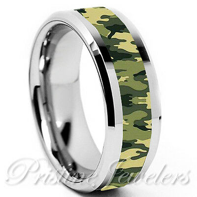 Solid Titanium Green Camouflage Soldier Army Camo Ring Silver Mens Wedding Band