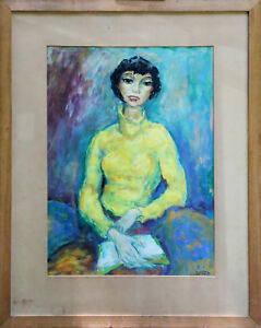 WILLEM-BOON-039-51-Impressionist-Painting-of-Woman-Gouache-framed-Original-22-5x16