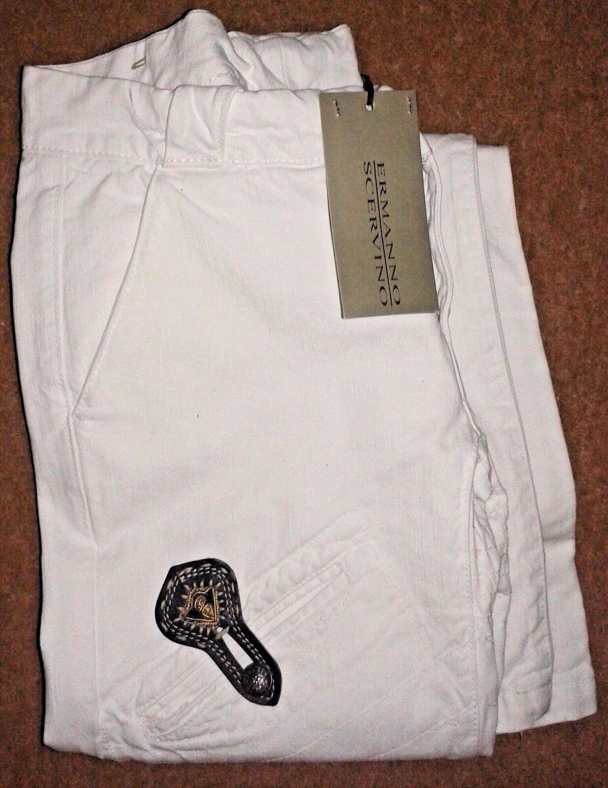 Ermanno Scervino Weiß Embelished Cotton Denim Designer Jeans - W28 L32