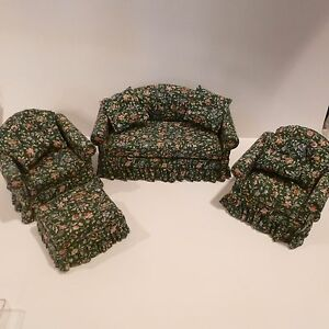 Details about MINIATURE LIVING ROOM SET COUCH 2 MATCHING CHAIRS W/PILLOW &  OTTOMAN GINNIE 1987