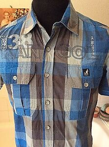 Kangol Black Label Edition ~ all cotton blue grey s sleeve check ... e9fab1460dc