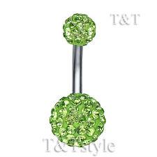 T&T 10mm Green Swarovski Crystal Ball Belly Bar Ring BL138G