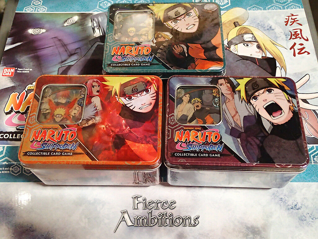 Naruto Ultimate Battle TCG CCG Collector Tin Case 3 Different 12 Tins