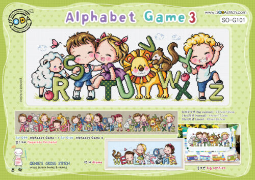 Cross stitch pattern leaflet Big chart SODAstitch SO-G101 Alphabet game 3