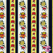 145000030 - Ed Hardy Love is True Heart Rose Stripe Fabric by the Yard Hot Rod