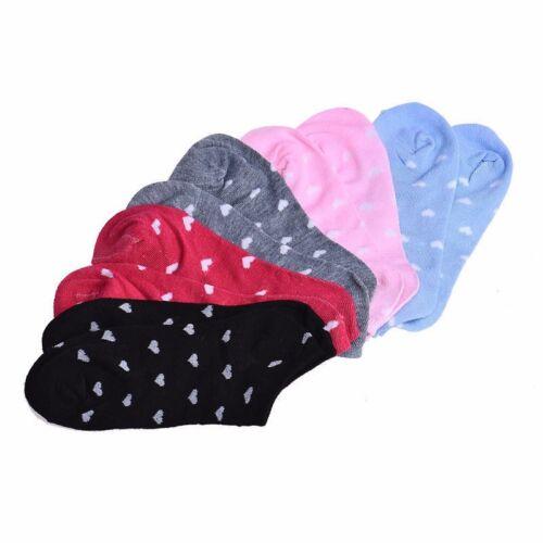 """Pair of HEART PRINT Girls//Ladies Cotton 7-1//2/"""" FOOTIE ANKLE Socks Choose Color"""