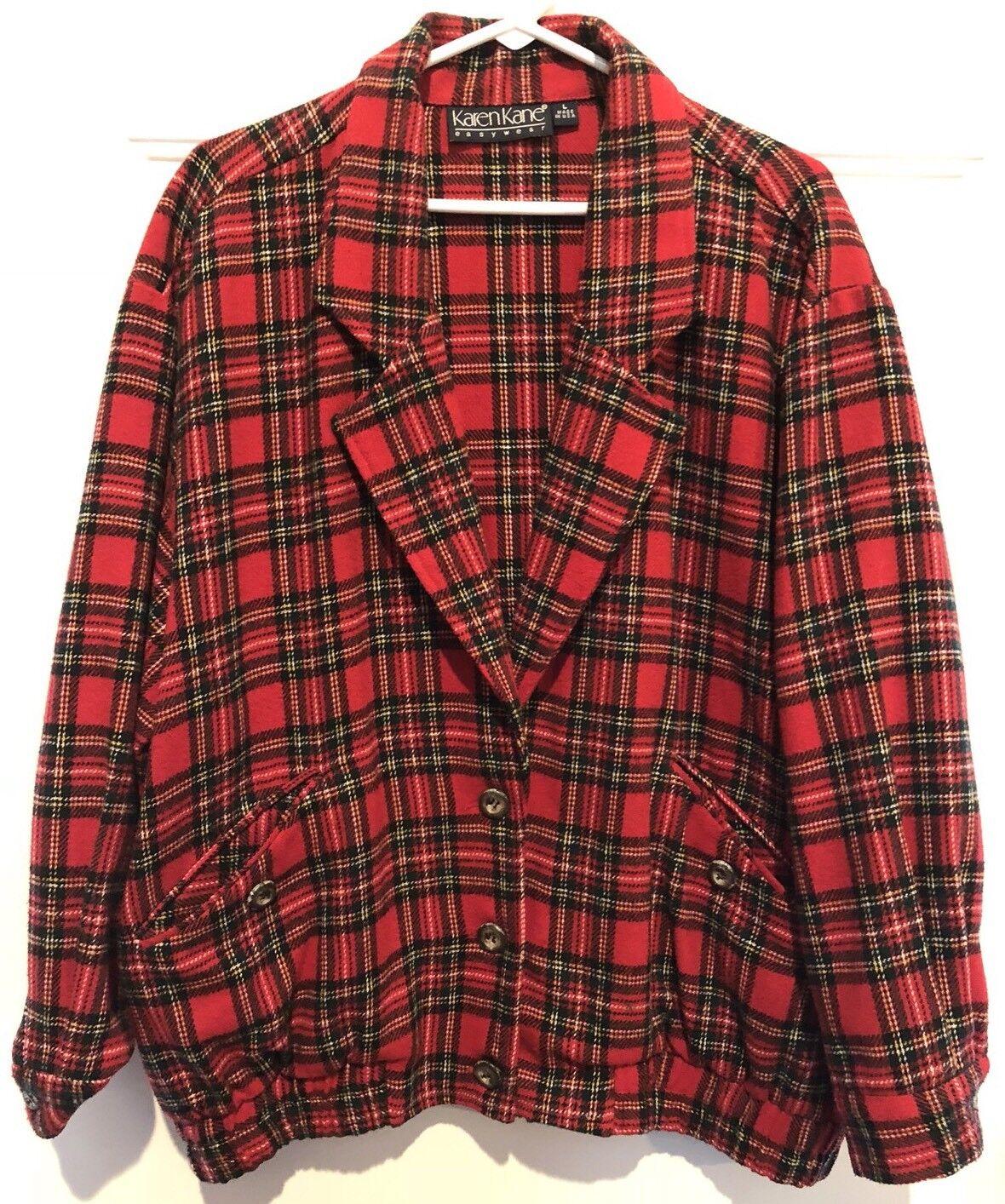Misses LARGE Karen Kane Celtic Red Plaid Jacket, Stuart Tartan w/ border stripes