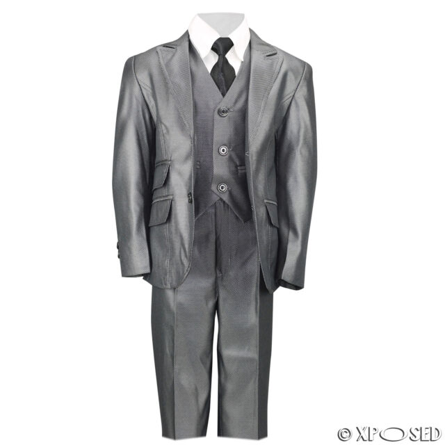 54e7a6985efbe Kids Page Boy 3 Piece Shiny Grey Suit Wedding Party Smart Formal Age 2 - 12