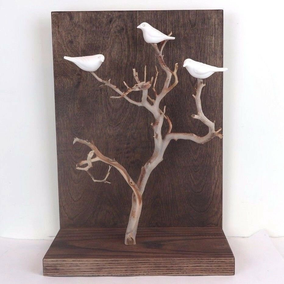 Hand Carved Weiß Porcelain Birds in Tree Wall Hang Figurine Stiles In Clay 14 H
