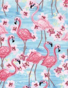 Tropical-Fabric-Flamingos-amp-Pink-Flowers-Aqua-Blue-Timeless-Treasures-YARD