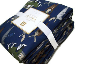 Pottery-Barn-Teen-Multi-Colors-Merry-Moose-Flannel-Cotton-Full-Sheet-Set-New