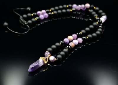Amethyst Achat Onyx Halskette Herren Edelstein Necklace Geschenk Für Mann 57 Cm
