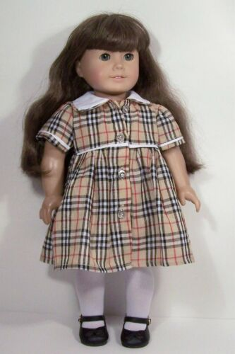 """Debs TAN RED WHITE BLACK Plaid School Dress Doll Clothes For 18/"""" American Girl"""
