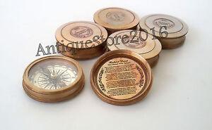 "Nautical Robert Frost Antique Vintage Poem Compass ""Lot of 5"" Pcs best Gift Item"