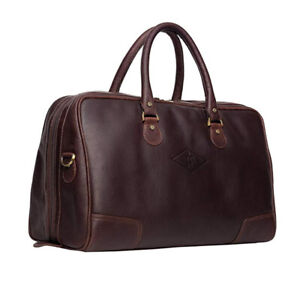 Details About Mens Luxury Genuine Soft Leather Small Holdall Overnight Duffel Manbag Bag
