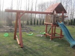 PREMIUM Massivholz Spielturm 3x Schaukel 1x Rutsche Garten Spielhaus