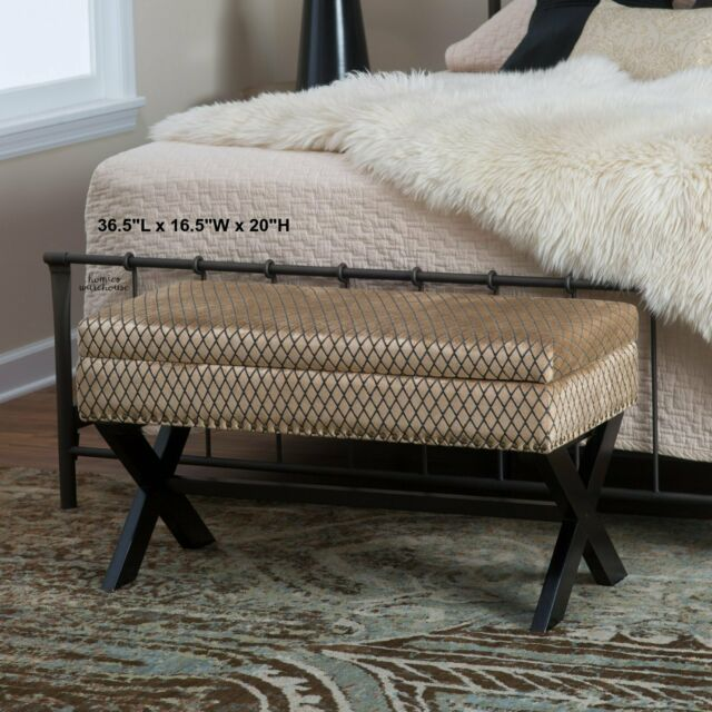 Bedroom Storage Bench Wood Padded Brown-Gold Seat Entryway ...