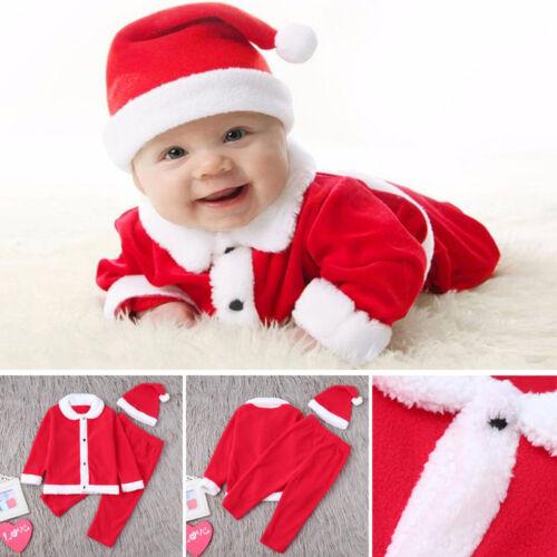 3pcs Infant Baby Boys Girl Christmas Fleece Tops Pullover+Pants+Hat Clothing g