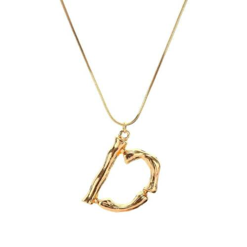 Big Rock Women Letter A-Z Gold//Silver Alphabet Initial Pendant Chain Necklaces