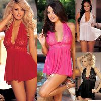 Women Lady Sexy Lingerie Lace Dress Babydoll Corset G-string Underwear Sleepwear
