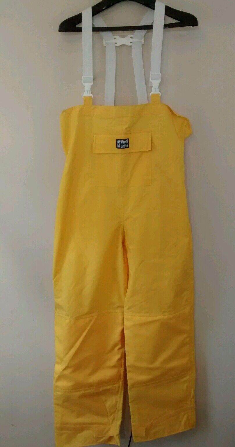West Marine Yellow Bib Fishing  Rain Boating Nylon Pants M  sale with high discount