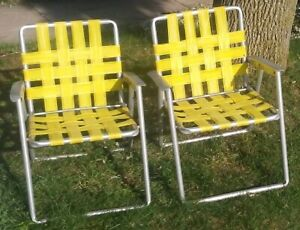 Details about 2 Matching RETRO YELLOW VINTAGE ALUMINUM LAWN BEACH CHAIR  RETRO FOLDING WEBBED