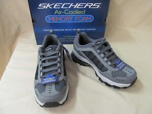 Details about Men's Skechers 7 M GrayBlack After Burn M Fit Air 52697GYBK Lace Up Sneakers