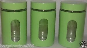 Image Is Loading Lime Green Canisters Set Of 3 Kitchen New