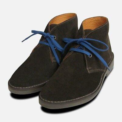 Affidabile Stivali Marrone Scuro In Pelle Scamosciata Italiana Desert Boots-