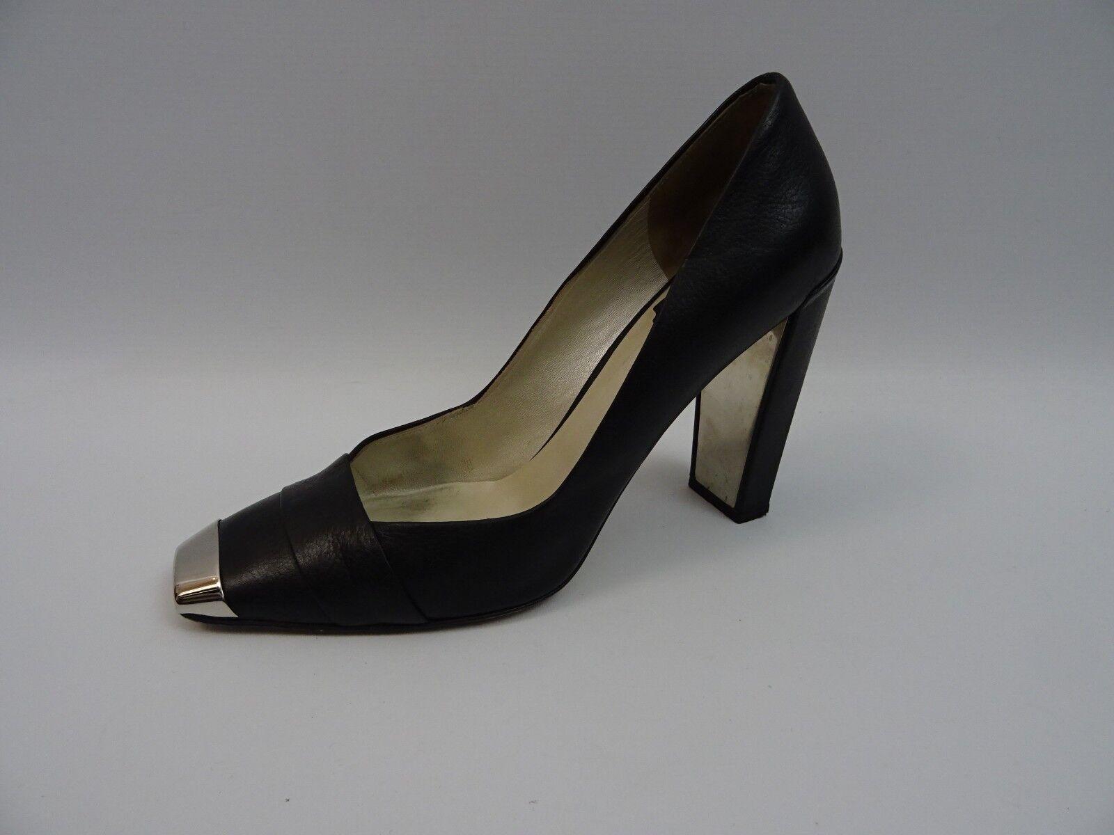 Dior Damen Schuhe Pumps Blockabsatz Blockabsatz Blockabsatz Schwarz Leder Eckige Metallspitze 40 Schuhes 497fbf