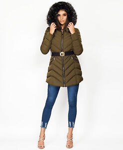 Ladies Womens Quilted Puffer Bubble Padded Warm Fur Lined Thick Coat Hood Jacket