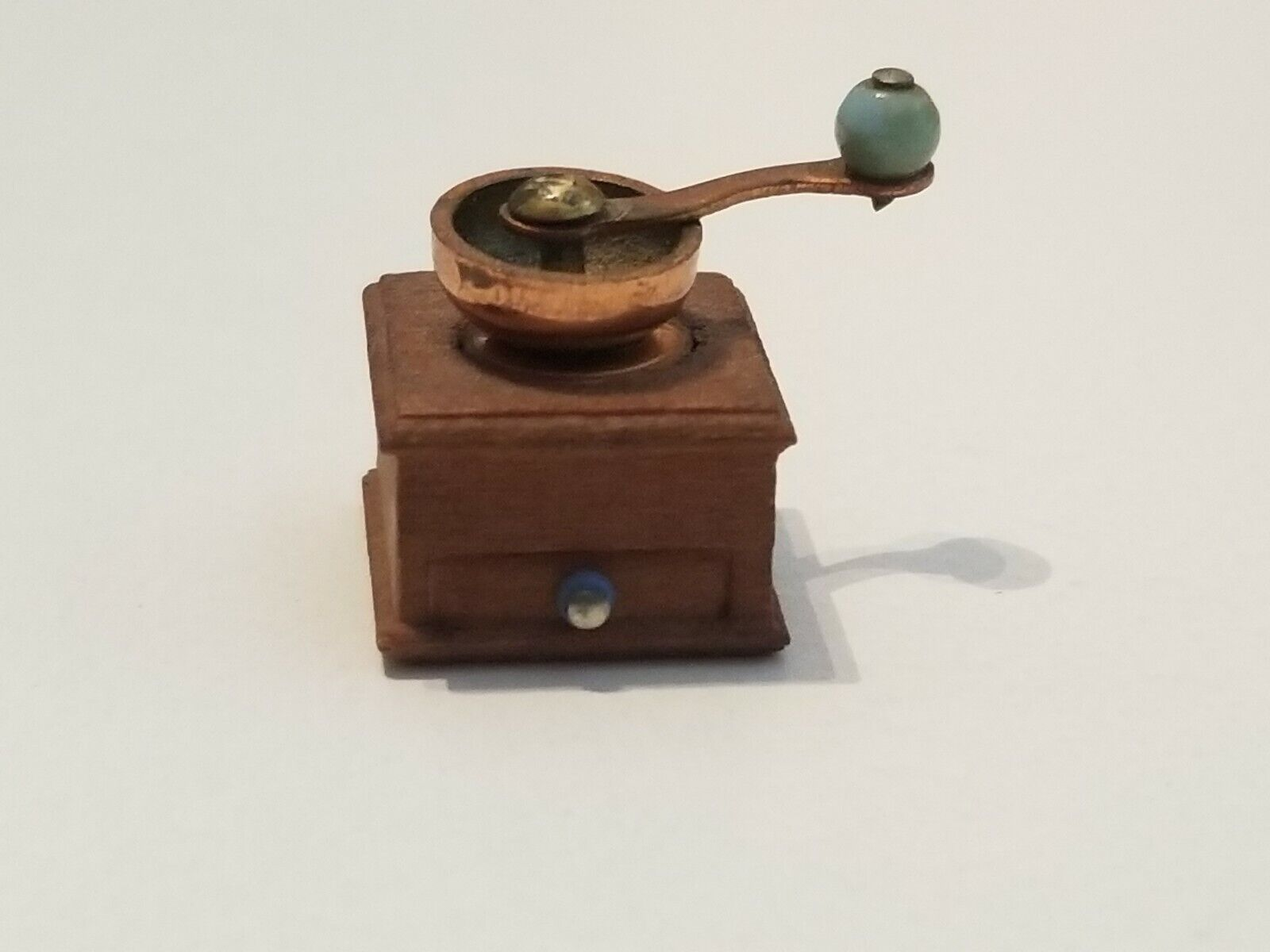 VINTAGE DOLLHOUSE WOOD COPPER GLASS MINIATURE COFFEE GRINDER MOVABLE PARTS