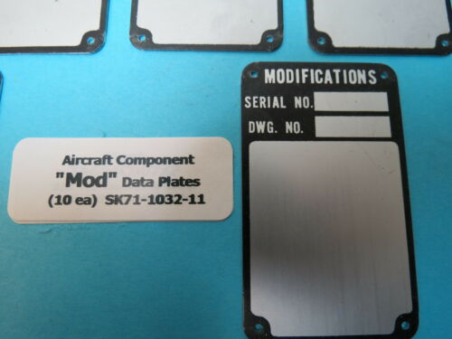 Aircraft /& Component Modification Mod Data Plates Lot of 10 each New