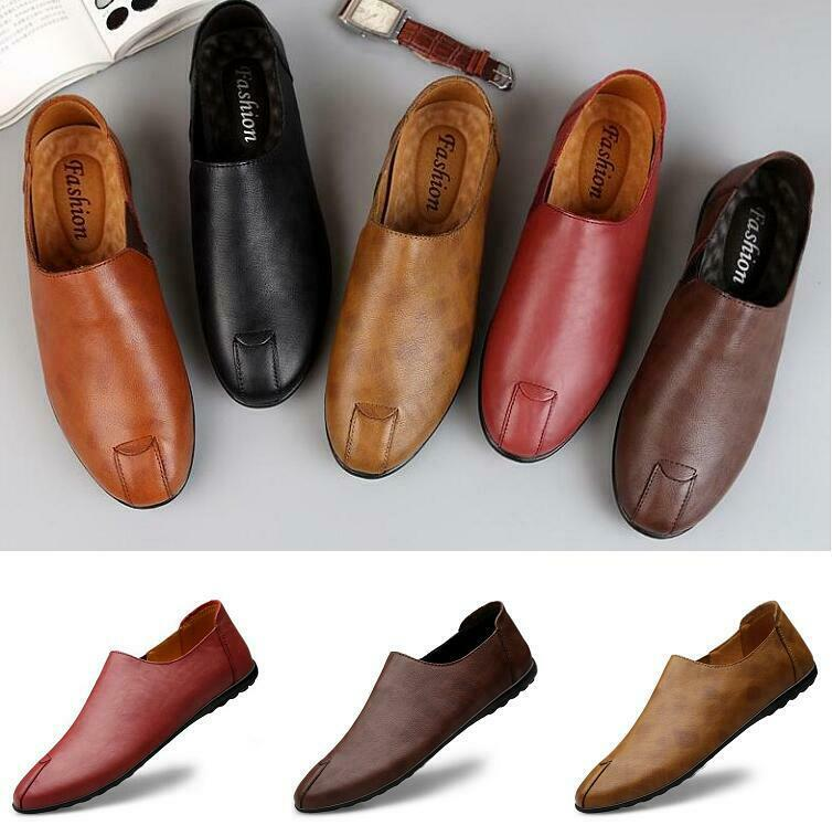 Men's Driving Moccasins Casual Business Flats Slip On Loafers Soft leather shoes